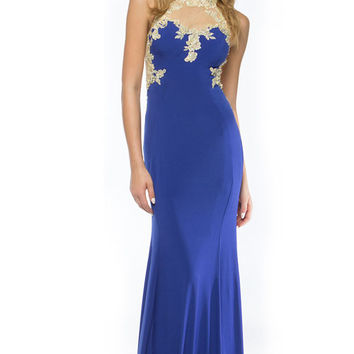 KC14108 Lace Accent Jersey Prom Dress by Kari Chang Couture