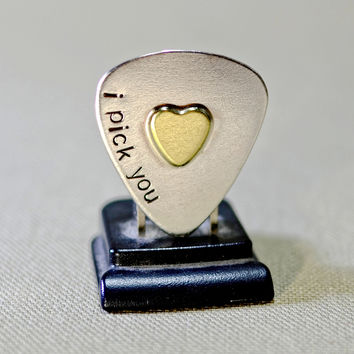 Sterling silver guitar pick with I Pick You and brass heart
