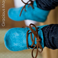 $41.00 Spunky Blue Suede Shoes boys fall winter 2011 by GraciousMay