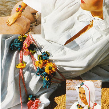 Crochet Bracelet Belt Head Piece beach Necklace Pattern Vintage crochet Jewelry Vintage PDF Instant Download epsteam crochet pattern vtg