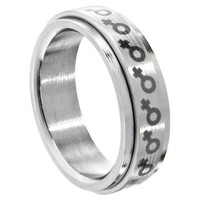 316L Surgical Steel Female Gay Pride Spinner Ring