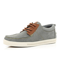River Island MensLight grey moccasin boat shoes