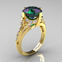 French Vintage 14K Yellow Gold 3.0 CT Russian Alexandrite Diamond Bridal Solitaire Ring Y306-14KYGDAL