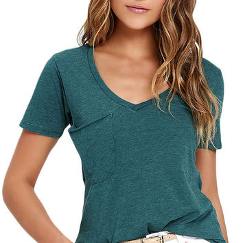 Green Summer Basic Pocket T-shirt