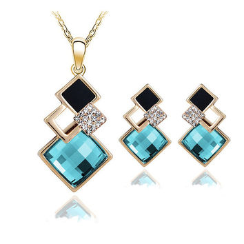 New Fashion womens Geometry square jewellery set of wedding jewerly sets for women with blue crystal african Female Jewelry set