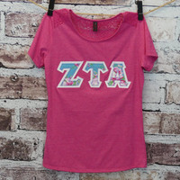 Zeta Tau Alpha Small Pink District Made Ladies Tri-Blend Lace Tee with Sis Boom Melody Blue Fabric on White Twill
