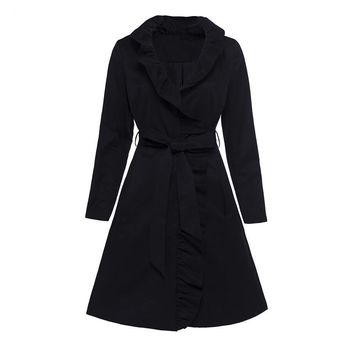 Gothic Coat Vintage Women Black Autumn Lace-Up Trench Outerwear Retro Goth Coats