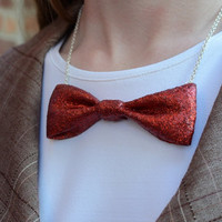 Doctor Who Inspired Bow Tie Necklace in Blue or Red