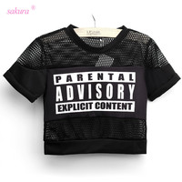 Sakura 2015 summer sexy crop top t shirt women PARENTAL ADVISORY printed t-shirt cropped short sleeve mesh women woman tops