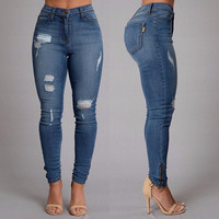 Fashion Ripped Jeans Full Length high waist