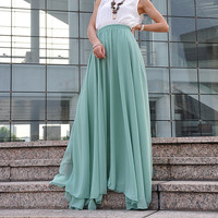 High Waist Maxi Skirt Chiffon Silk Skirts Beautiful Bow Tie Elastic Waist Summer Skirt Floor Length Long Skirt (037), #78