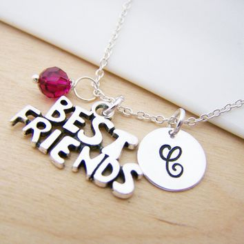 Best Friend Charm Swarovski Birthstone Initial Personalized Sterling Silver Necklace / Gift for Her - Best Friend Necklace