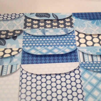 Handmade 5x7 Envelopes Set of 12 Icy Blue- Colorful Paper Designs