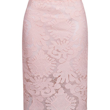 Pink Crochet Lace Bodycon Mini Skirt