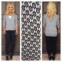Calico Printed 3/4 Sleeve Wrap Top