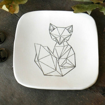 Geometric Fox Trinket Dish,  Ceramic Plate, Black and White Pottery, Square Ring Dish Animal Porcelain Home Decoration, Geometrical Style
