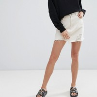 Pull & Bear Denim Skirt with Rips at asos.com