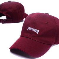 The New Thrasher Embroidery Cotton Baseball Cap Hats- Wine