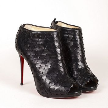 CREY3D5 Christian Louboutin Black Diplonana Leather Scaled Peep Toe Booties