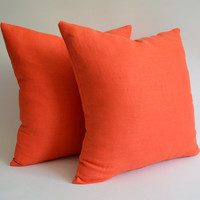 Sukan / 1 Orange Linen Pillow Cover - orange shams - orange pillows - orange throw  pillow - 24x24 inch