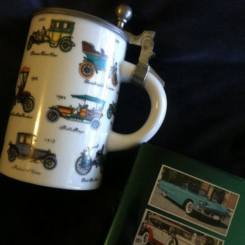 Antique Cars Beer Stein Ceramic Collectible Tankard Mug With 15 Old Fashioned Automobiles Design Vintage Classic Car Lovers Man Cave Decor