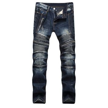 Men High Quality Slim Zippers Pants Jeans [1574710607965]