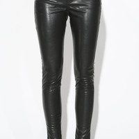 LEATHER ZIP SKINNY PANTS