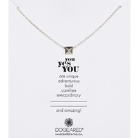 Sterling Silver You- Yes You Square Necklace
