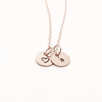 Rose Gold Initial Necklace with Heart, 14k gold filled, Heart Necklace, Handstamped Jewelry, Everyday Gifts for Her