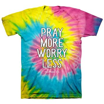 Kerruso Pray More Worry Less Spiral Tie Dye Cherished Christian Bright Unisex T Shirt