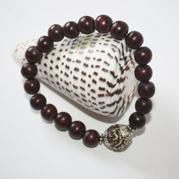 Bold Accent, Treat Yourself or Your Man, Men's Bracelet, Brown Wood Beads, Tibetan Conch Shell Bead, Stretch, Gift, Beach, Ready to Ship