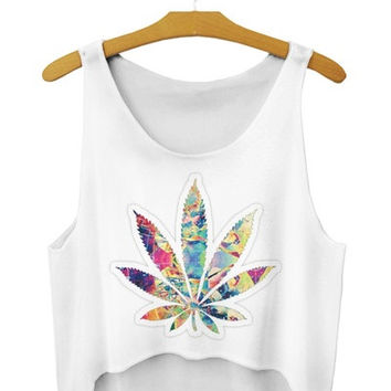 2015  harajuku women sexy crop tops bustier hemp leaf weed cannabis leaf 3d printed tank tops = 1956649028