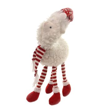Christmas LLAMA W/ RED/WHITE STRIPE SCARF Fabric Santa Hat Ceb214