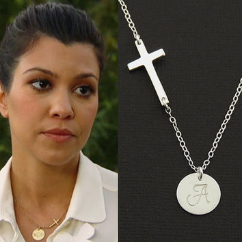 Sterling Silver Cross Necklace. Initial Necklace. Personalized Monogram Charm. Celebrity Inspired. Silver Disc Necklace. Christmas Necklace.