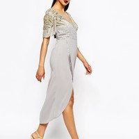 Virgos Lounge Julisa Midi Dress With Wrap Front And Embellished Shoulders