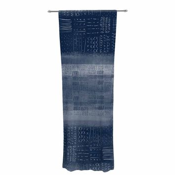 "Pellerina Design ""Indigo Mudcloth"" Blue White Painting Decorative Sheer Curtain"
