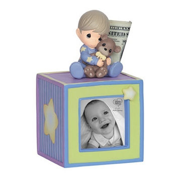 Precious Moments Baby Boy Photo Cube Bank