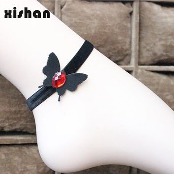 Gothic Vintage Ankle Bracelet Black Velvet Ribbon Butterfly Rose Flower Charm Sexy Lace Anklet Jewelry For Girl crystal Anklets