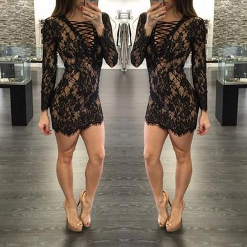 2016 Women Summer Dress Sexy Lace Dress Long Sleeve Work Wear Hollow Out Bandage Dress Womens Sexy Party Night Club Dresses L86