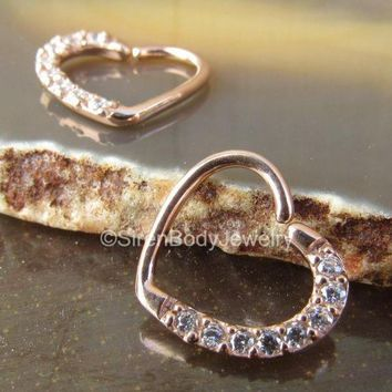 Daith heart earring right ear helix piercing 16g rose gold cz paved gemstones easy bend cartilage seam ring