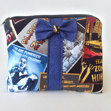 Horror Movie Makeup Bag / Cosmetics Pouch / Zombie / Makeup Clutch / Zipper Make Up Bag / Zombies / Bow Clutch / Cosmetic