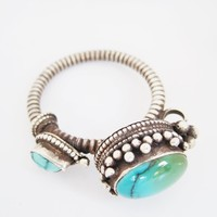 Vintage Silver and Turquoise Tibetan Single Earring