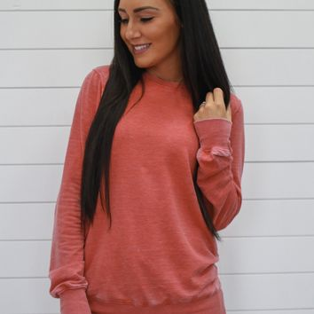 Too Comfy To Care Sweatshirt - Coral