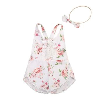 Cute Toddler Kids Baby Girl Floral Clothes Summer Sleeveless Backless Cross Lace Tassel Romper Jumpsuit +Headband 2PCS Susuit