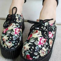90s lace up grunge punk rock flora print platform shoes from mancphoebe