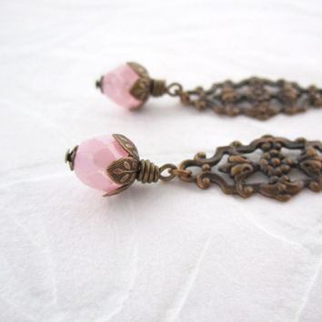 Pink Earrings - Victorian Oxidized Brass Filigree Floral - Leverback - Ornate Jewelry