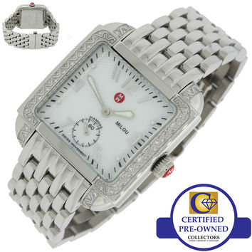 Ladies Michele Milou Steel 66 Diamond .30ctw MW15A01A2025 33mm MOP Quartz Watch