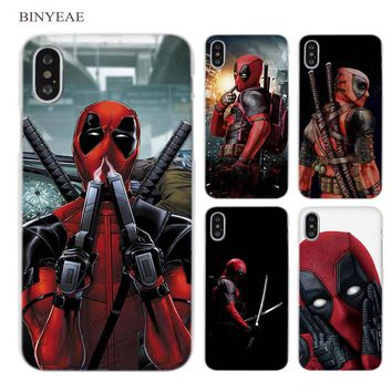 BINYEAE Hero Deadpool Clear Cell Phone Case Cover for Apple iPhone X 6 6s 7 8 Plus 4 4s 5 5s SE 5c