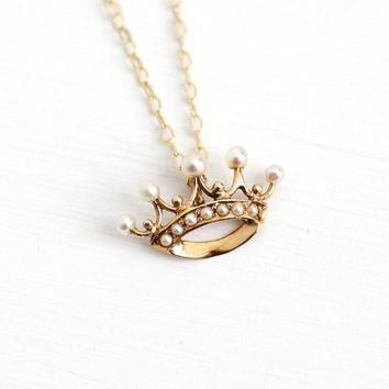 Antique 14k Yellow Gold Seed Pearl Crown Pendant Necklace - Vintage 1900 Edwardian Que