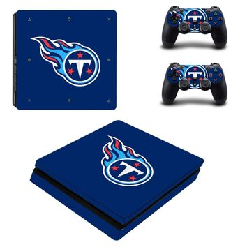 Tennessee Titans PS4 Slim Skin Sticker Decal for Sony PlayStation 4 Console and 2 Controller PS4 Slim Skins Sticker Vinyl